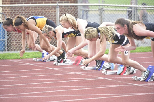 Athletes participate at the District 3 track and field championships at Shippensburg University on May 17, 2019