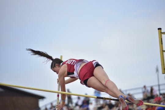 Annville-Cleona's Kayla Long pole vaults gold at the District 3 track and field championships at Shippensburg University on May 18, 2019