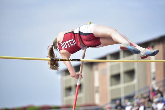 Annville-Cleona's Mary Tshudy competes in the pole vault at the District 3 track and field championships at Shippensburg University on May 18, 2019