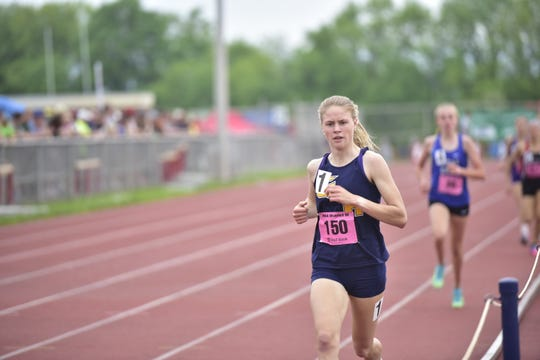 Greencastle-Antrim's Taryn Parks set a meet record in her first-place finish in the 800M at the District 3 track and field championships at Shippensburg University on May 18, 2019