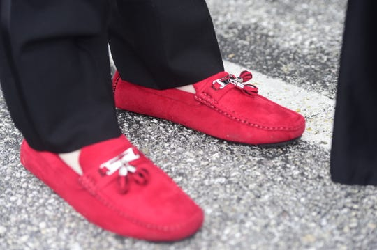York County School of Technology senior Jayden Andrews' red loafers he wore to prom Friday, May 17, 2019.