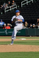 Reno's Caedon Kottinger pitches Friday at the state tournament in Las Vegas
