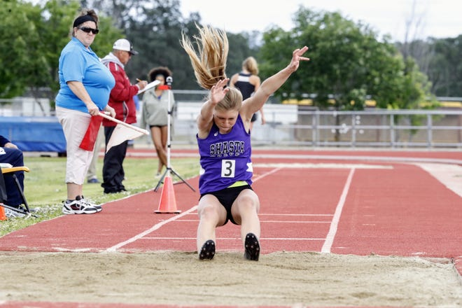 Competition at the NSCIF track and field finals hosted by West Valley High School in May 2019.