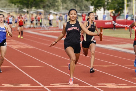 Foothill's Melody Wu crosses the finish line in the 4x100 at the NSCIF track and field finals hosted by West Valley on Friday, May 17.