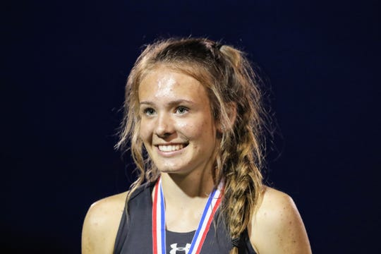 Foothill's Zoey Bishop is awarded Female Athlete of the Meet at the NSCIF track and field finals hosted by West Valley on Friday, May 17.