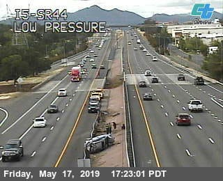 A single vehicle rollover on southbound Interstate 5 on Friday evening was slowing traffic near the Highway 44 West on-ramp in Redding.