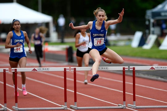 Blanchet Catholic's Trinity Phipps competes in a preliminary of the 3A girls 300-meter hurdles during the OSAA 3A/4A State Track and Field Meet at Mt. Hood Community College Friday, May 17.