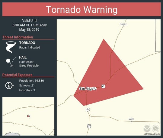 A tornado warning was issued Saturday morning for Tom Green County and San Angelo.