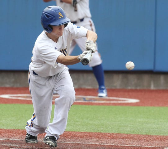Angelo State University's Jackson Hardy lays down a bunt during a 6-1 win against Lubbock Christian in the NCAA Division II South Central Regional at Foster Field at 1st Community Credit Union Stadium Friday, May 17, 2019.