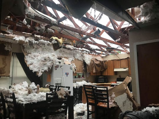 A severe thunderstorm damaged homes in the San Angelo area Saturday, May 18, 2019, including the Bishop residence, where the family of seven protected themselves under a mattress while their home was torn apart.