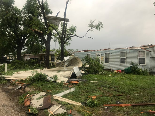 The roof of this home on 22nd Street near Bradford Elementary was ripped off during an early morning storm Saturday, May 18, 2019. Neighbors said the older lady who lives in the home was OK.