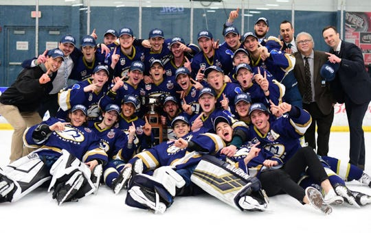 The Stampede celebrate their Clark Cup title on Friday night in Chicago.