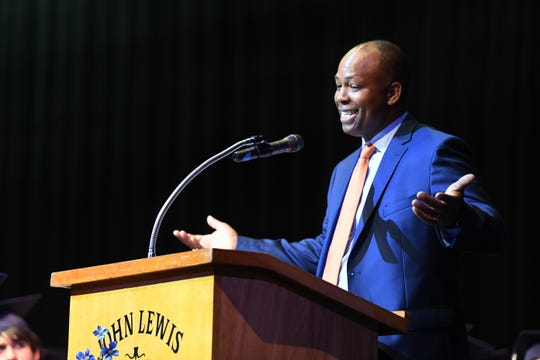 Vincent Toye, who addressed the final graduating class of Robert E. Lee High School on May 18, 2019, is one of the newest members of the school's hall of fame.