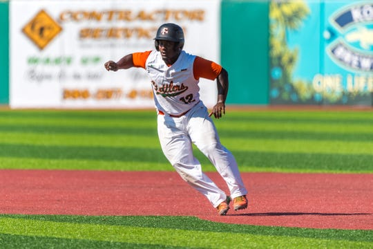 Kaycee Reese leads off second. FAMU beat Delaware State 9-8 in 10 innings during MEAC Baseball Championship at Jackie Robinson Ballpark in Daytona Beach.