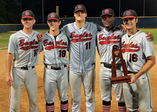 North Florida Christian seniors Carson Neal, J.D. Tease, Major Posey, Brandon Walker and Josiah Miller pose for a photo after NFC's baseball team won a Region 1-3A title on Friday, beating St. Johns Country Day 11-1. The Class 3A No. 1 Eagles are headed back to state to face Fort Myers Canterbury, who they lost to in last year's state championship game.