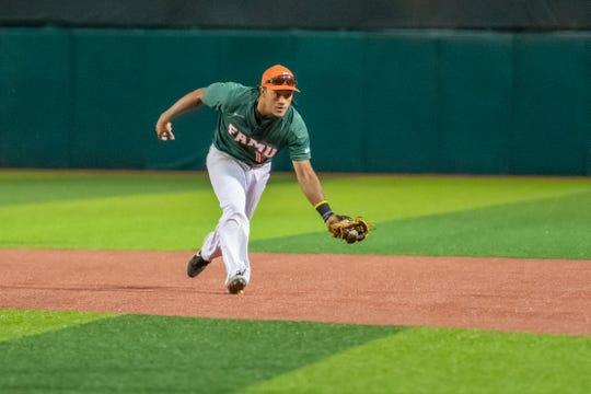 FAMU second baseman Octavien Moyer fields a ball versus N.C. A&T.