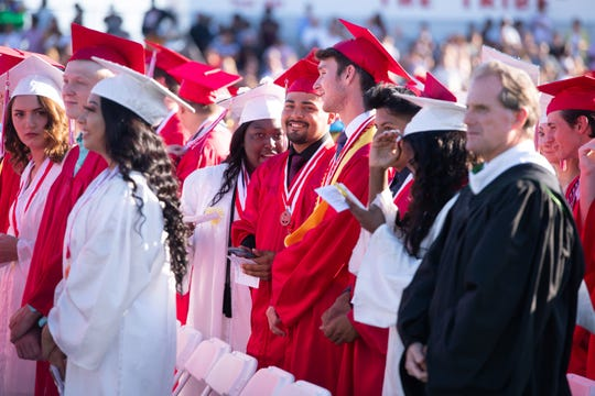 Vero Beach High School graduates received their diplomas Saturday, May 18, 2019, during the school's commencement exercise in Vero Beach. School officials announced Thursday this year's graduation would be postponed to June 12.