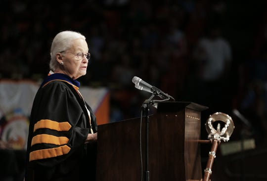 Retiring UTEP President Diana Natalicio speaks at a May 18 commencement ceremony at the Don Haskins Center.