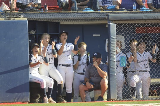 CVC players cheer in the dugout on Friday during the 2019 Central Section Division VI title game at Fresno State's Margie Wright Diamond. CVC beat Foothill-Bakersfield 7-0.