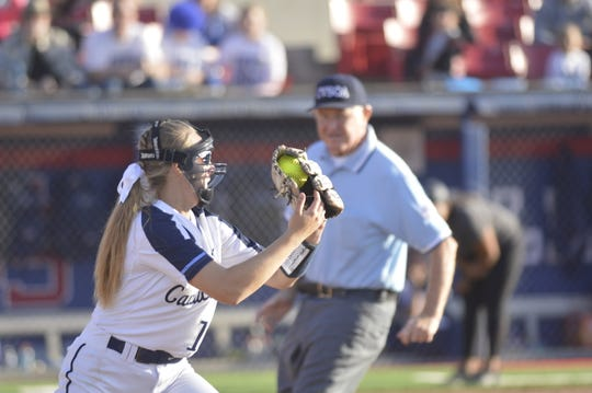 CVC first baseman Izzy Vaughn completes the double play in the Cavaliers' win over Foothill-Bakersfield on Friday at Fresno State's Margie Wright Diamond. CVC captured the 2019 Central Section D6 title.