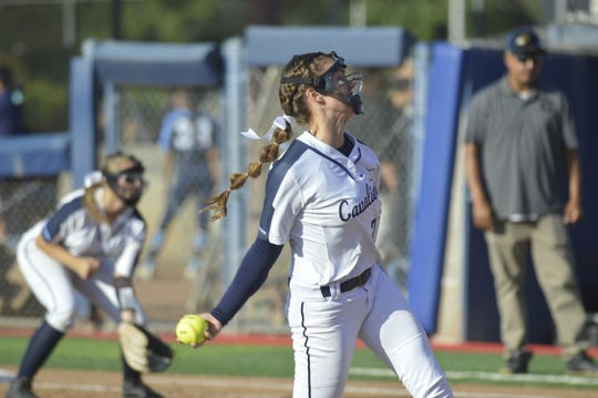 Former CVC ace pitcher Rylie Atherton pitched a complete game to lift the Cavaliers to a 7-0 win in the 2019 Central Section Division VI championship game.