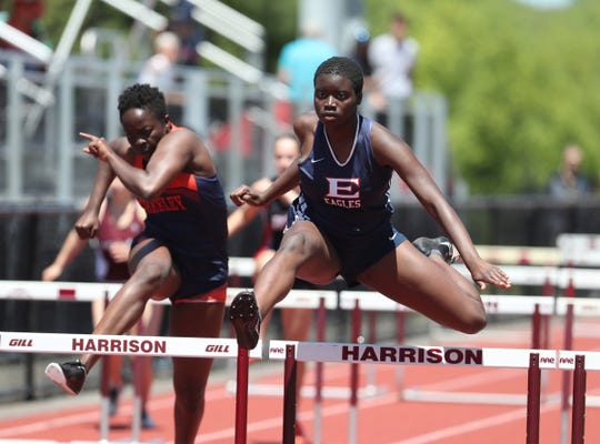 Eastchester's Alya Campbell competes in the 100-meter hurdle preliminaries during the Westchester County Track & Field Championships at Harrison High School in Harrison on Saturday, May 18, 2019.