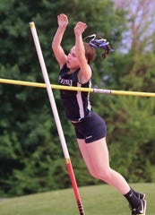 Suffern's Hannah Solomon-Hollander won the pole vault at the Rockland County Track and Field Championships at Tappan Zee May 16, 2019.
