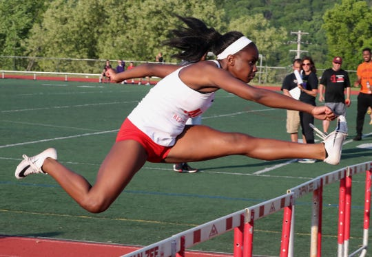 North Rockland's Nadia Saunders won the 100-meter hurdles at the Rockland County Track and Field Championships at Tappan Zee May 16, 2019.