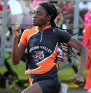 Spring Valley's Anaika Louis won the 100-meter dash at the Rockland County Track and Field Championships at Tappan Zee May 16, 2019. She also won the 200m.