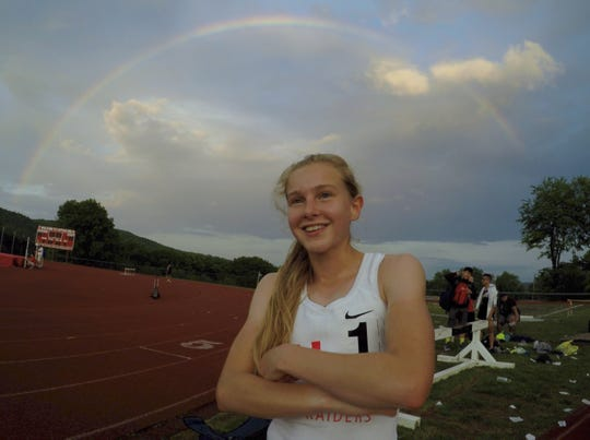 North Rockland's Katelyn Tuohy won the 800, 3,000 and 1500-meter runs at the Rockland County Track and Field Championships at Tappan Zee May 16, 2019.