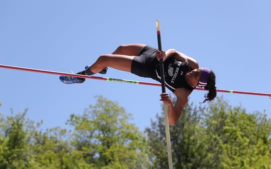 New Rochelle's Martha Kemp-Neilson cleared 11-feet to win the pole vault at the Westchester County Track & Field Championships at Harrison High School in Harrison on Saturday, May 18, 2019.