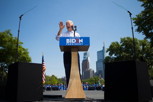 Former Vice President Joe Biden speaks during his first public presidential campaign rally Saturday at Eakins Oval.