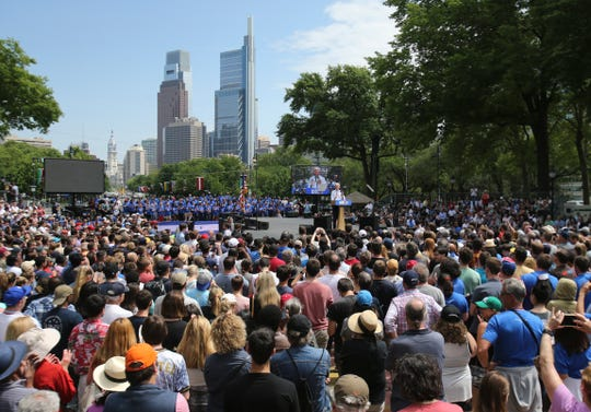 Thousands of people turn out as presidential candidate Joe Biden holds a campaign rally on Ben Franklin Parkway in Philadelphia Saturday.