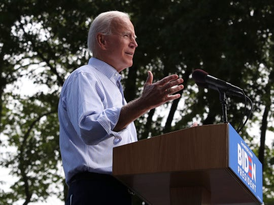 Presidential candidate Joe Biden holds a campaign rally on Ben Franklin Parkway in Philadelphia Saturday.