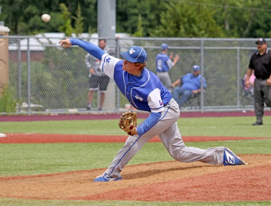Windthorst's Cy Belcher pitches against Muenster Saturday, May 18, 2019, in Bowie. The Trojans defeated the Hornets 7-2 in Gm 3 to win the series. They move on to the Region I-2A regional semifinals.