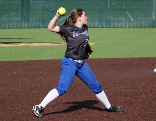 Windthorst's Claire Hemmi throws to first against Ralls in Gm 1 Friday, May 17, 2019, at Midwestern State University's Mustangs Park.