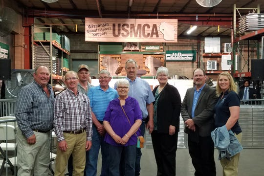 FarmFirst board member Wayne Gajewski, (second from left) and nine other FarmFirst members attended a meeting with Vice President Mike Pence in Eau Claire on May 16, showing support of passing USMCA FarmFirst members inlcuded board members Brian Wozniak of Stanley, Wis., Jean Reisinger of Spring Green, Wis., and Rich Meyer of Unity, Wis.