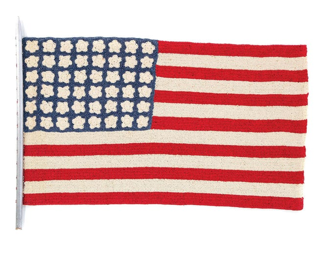 Would you have kept a crocheted crepe paper flag for more than 80 years? An Oklahoma woman, probably a collector, made the flag, and her family saved it until last year when they realized it might be valuable. They sold it at auction for $344. Unique vintage pieces are often of interest and will sell for a good price.