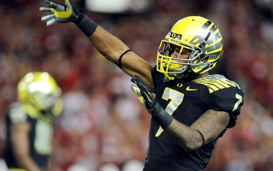 Oregon's Keanon Lowe during a 2014 game.