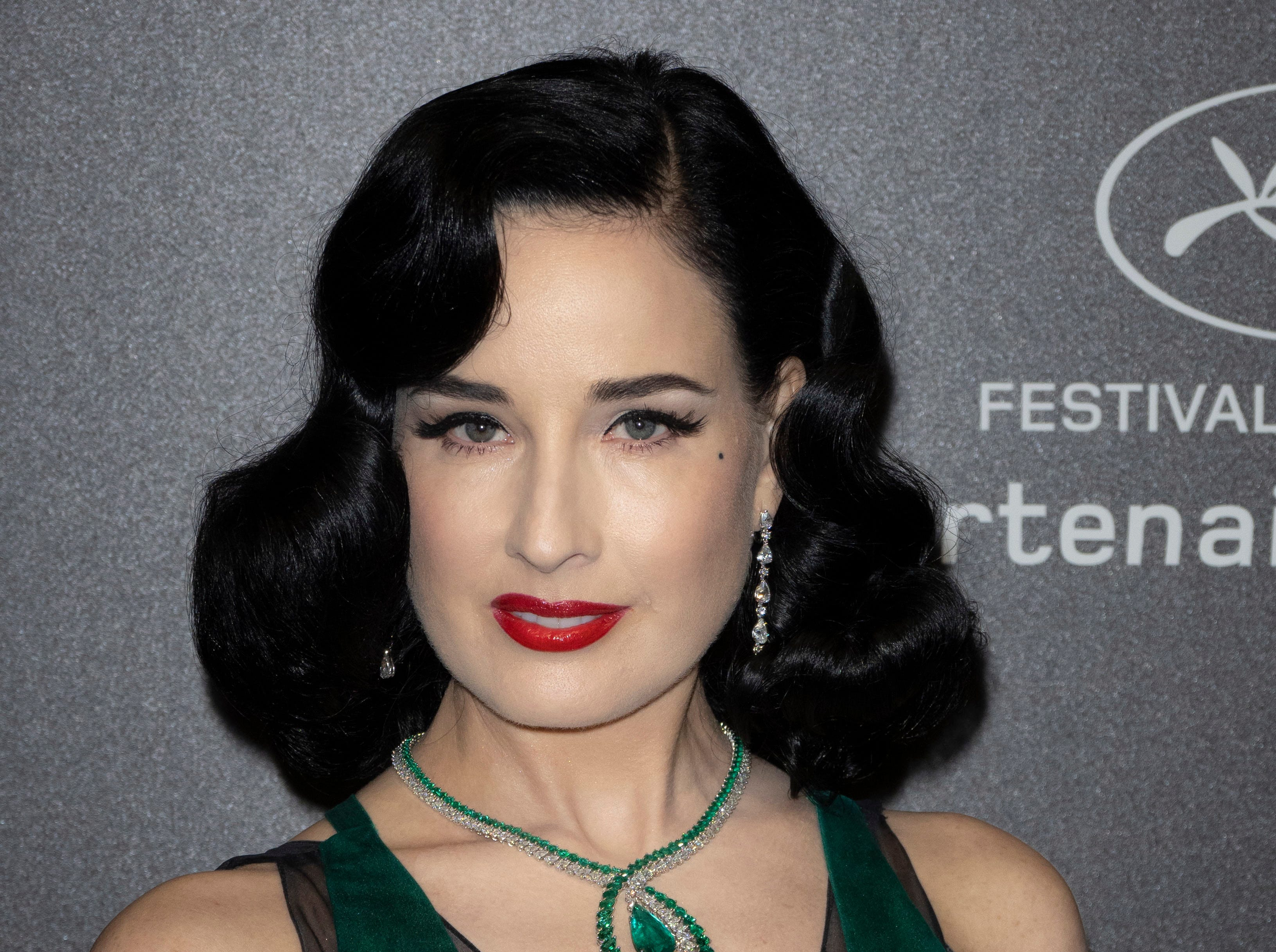 Dancer and costume designer Dita Von Teese attends the Chopard Love Party during the 72nd annual Cannes Film Festival in Le Cannet, France on May 17, 2019.