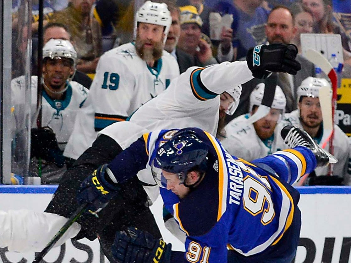 Conference finals: Blues right wing Vladimir Tarasenko and Sharks defenseman Brent Burns collide during Game 4.