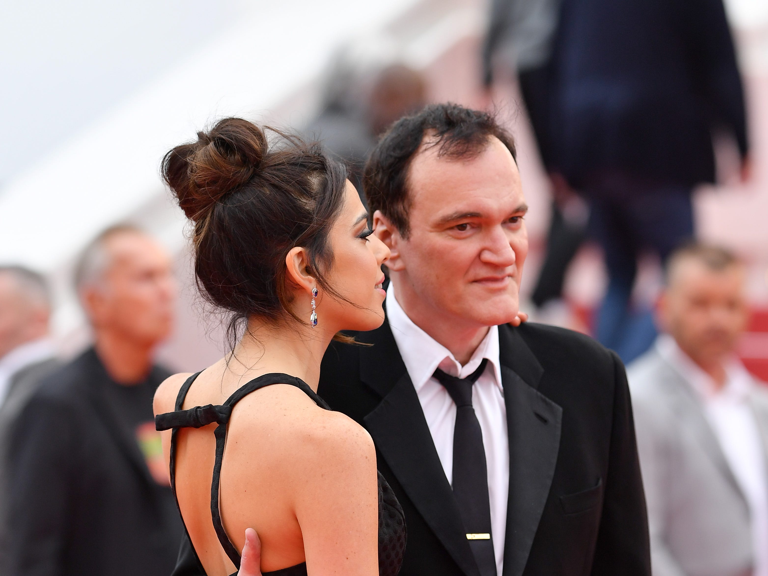 """Quentin Tarantino and Daniela Pick attend the screening of """"The Wild Goose Lake (Nan Fang Che Zhan De Ju Hui/ Le Lac Aux Oies Sauvages)"""" during the 72nd annual Cannes Film Festival on May 18, 2019 in Cannes, France."""