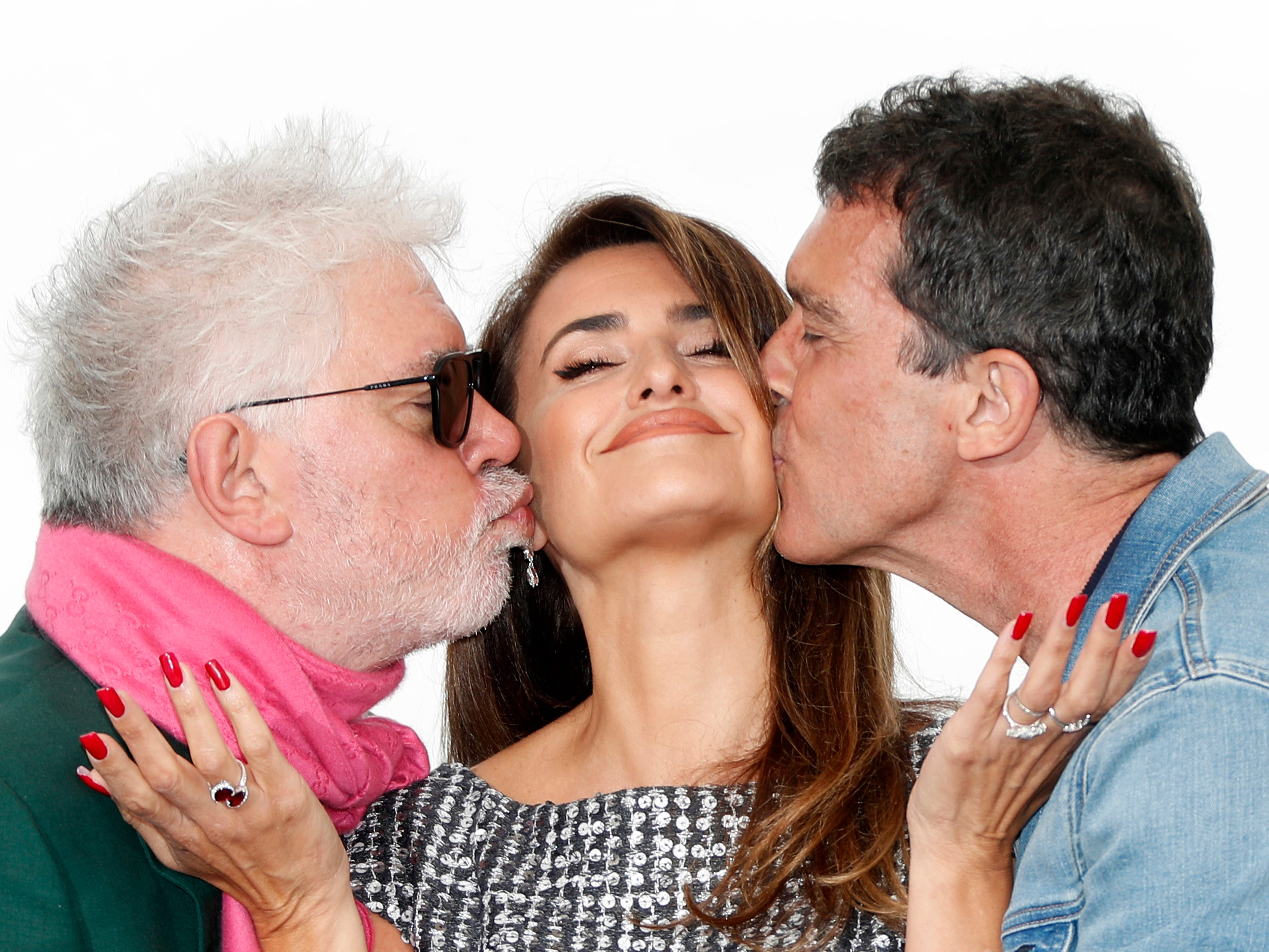Spanish director Pedro Almodovar, Spanish actress Penelope Cruz and Spanish actor Antonio Banderas pose during the photocall for 'Dolor y Gloria' (Pain and Glory) at the 72nd annual Cannes Film Festival, in Cannes, France on May 18, 2019.