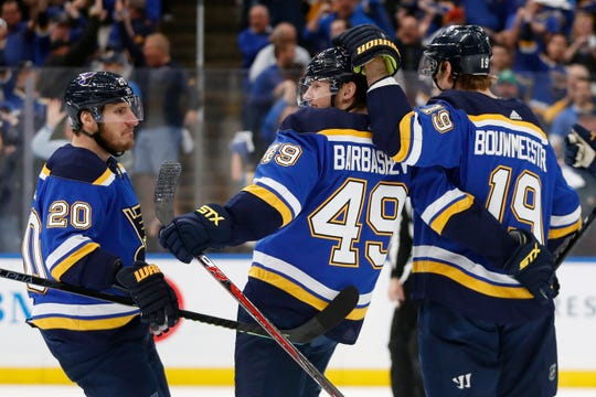 Blues center Ivan Barbashev (49) scored 35 seconds into the game.