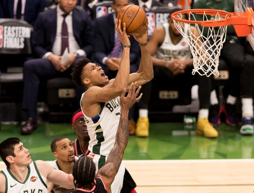 ad01d9264178 May 17  Bucks forward Giannis Antetokounmpo (34) drives to the bucket  during Game