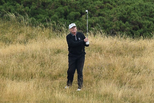 President Donald Trump plays a round of golf at Trump Turnberry Luxury Collection Resort.