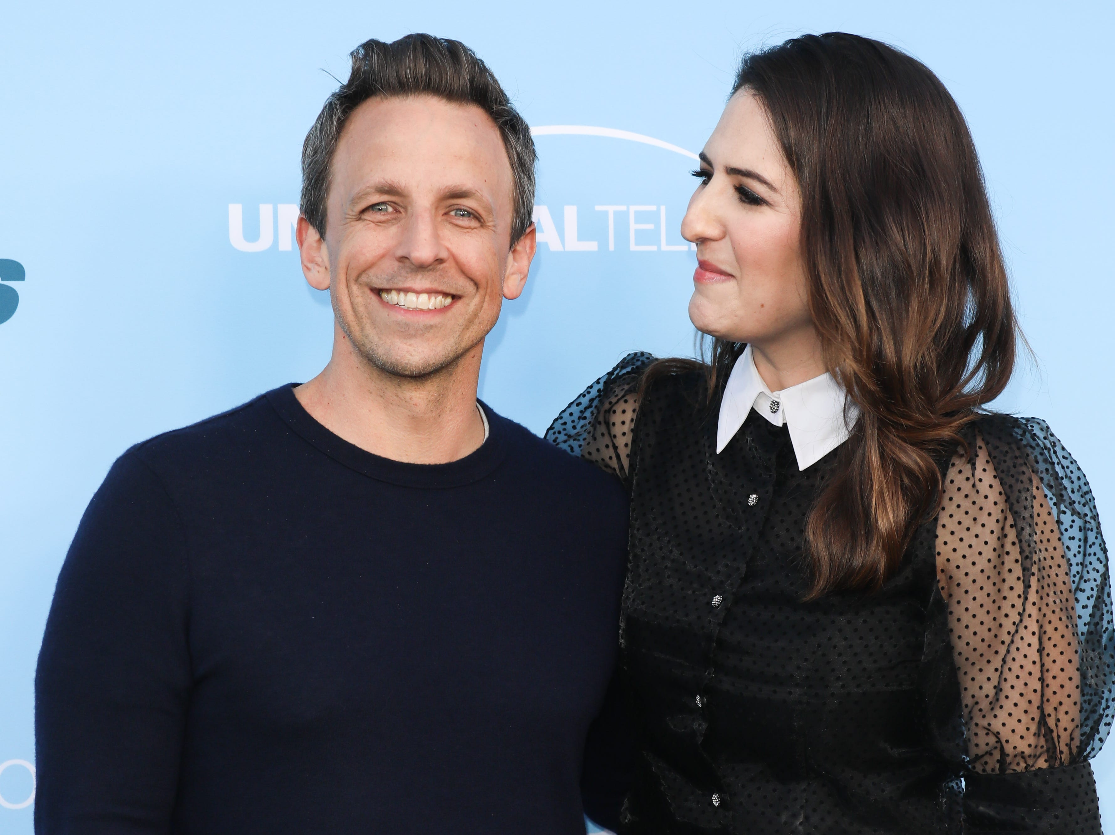 """TV Personality Seth Meyers and Actress D'Arcy Carden attend the FYC event for NBC's """"Late Night With Seth Meyers"""" at the Saban Media Center on May 17, 2019 in North Hollywood, Calif."""