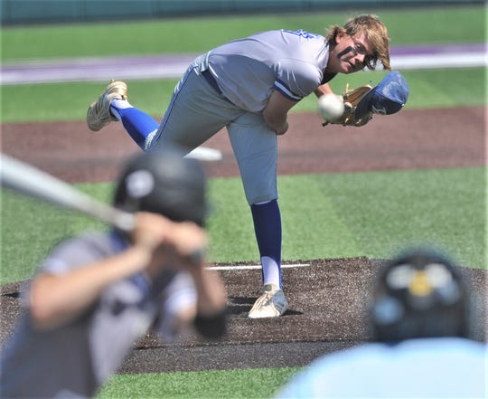 Brock starter Caleb Satterfield throws a pitch to a Clyde batter in the second inning. Brock won the game 8-6 to sweep the Region I-3A quarterfinal playoff series Saturday, May 18, 2019, at ACU's Crutcher Scott Field.