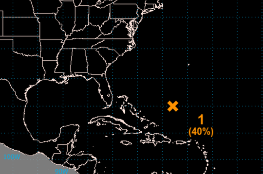 This map depicts the location of the weather disturbance southwest of Bermuda.