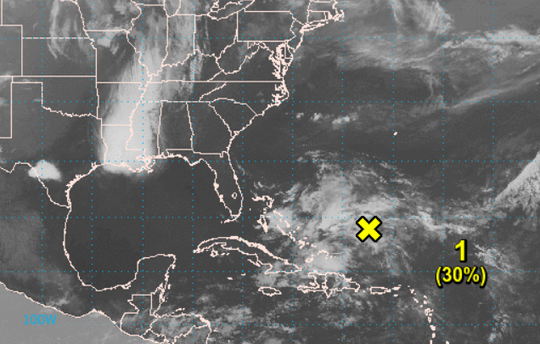 This map depicts the tropical disturbance southwest of Bermuda on Sunday morning.